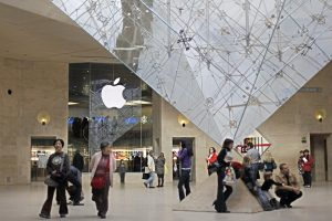 The Apple store inside the Louvre museum, in Paris.